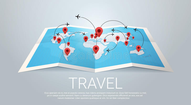 World Map Earth With Pins Travel Concept. Vector Illustration stock illustration