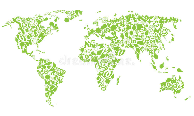 World map of eco icons royalty free illustration