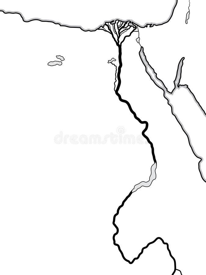 World Map of EGYPT and LIBYA: North Africa, Lower Egypt And Upper Egypt, The Nile River & its Delta. Geographic chart. World Map of EGYPT and LIBYA: North stock illustration