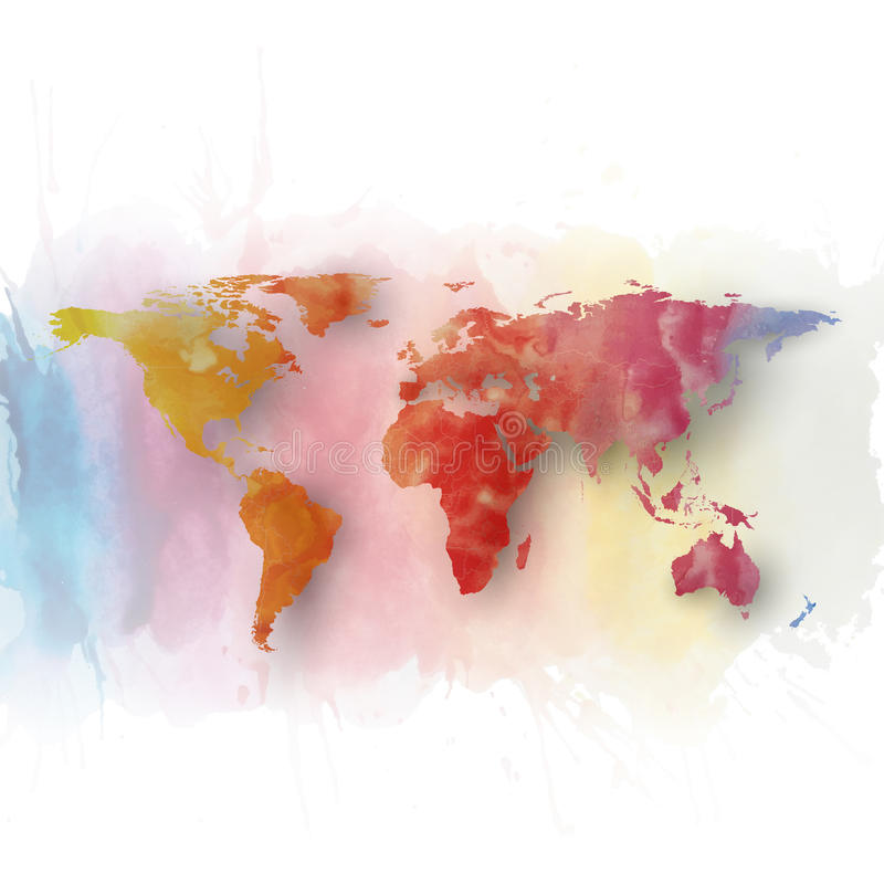 World map element, abstract hand drawn watercolor stock illustration