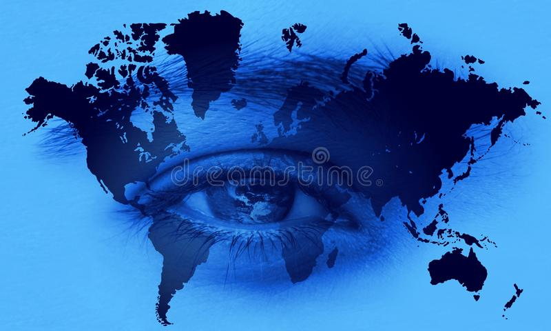 World-map en blauwe ogen de communicatie van de netwerktechnologie van de wereld achtergrond stock illustratie