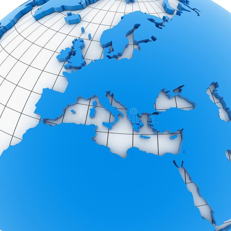 World map - europe stock illustration