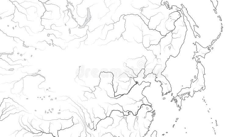 World Map of FAR EAST REGION: Japan, Korea, China, Siberia, Yakutia, Mongolia, Dzungaria. Geographic chart. World Map of FAR EAST REGION: Japan, Korea, China stock illustration