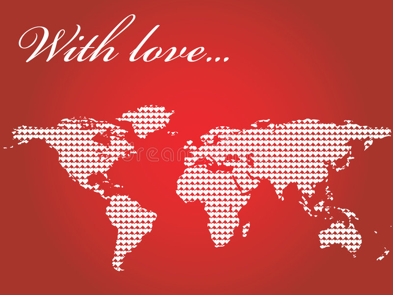 World map filled with hearts stock photos