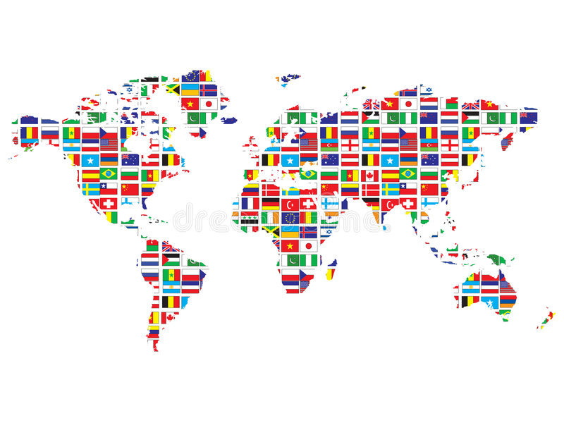 World map with flags stock illustration