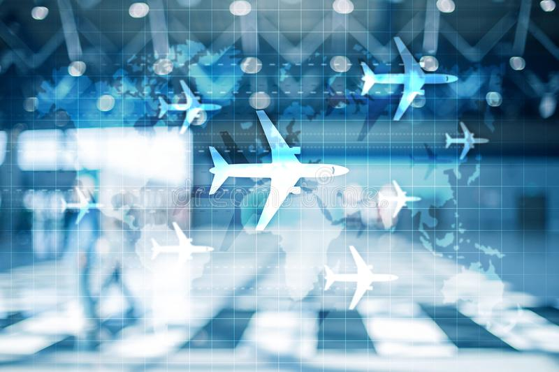World map with flight routes airplanes. Global Aviation Business Tourism. Double exposure background.  royalty free stock photos