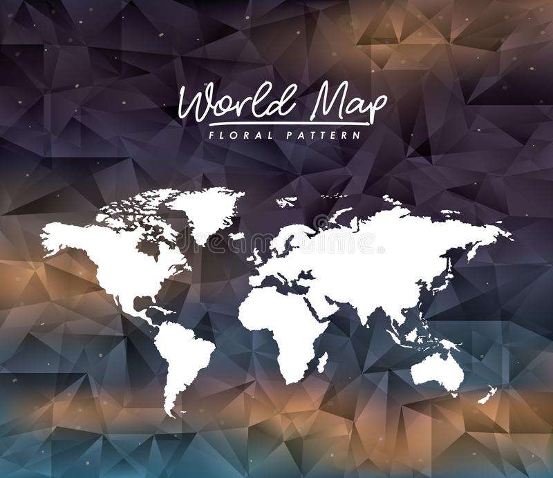 World map floral pattern on colorful polygon background royalty free illustration