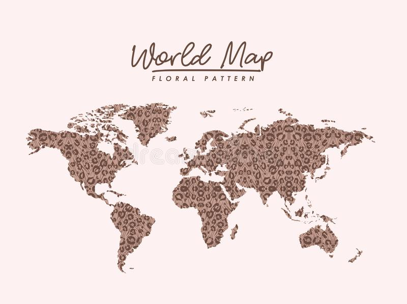 World map floral pattern stains on light pink background vector illustration