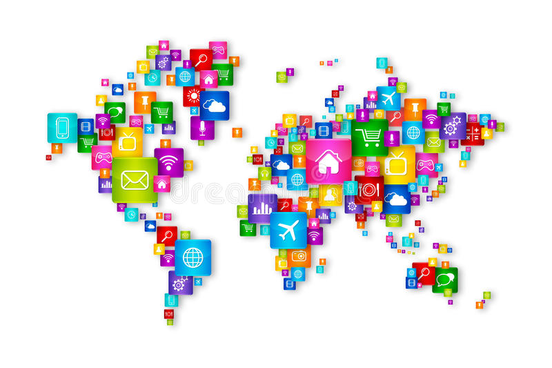 World Map Flying Desktop Icons collection. Cloud Computing concept stock illustration
