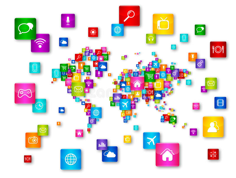 World Map Flying Desktop Icons collection. Cloud Computing concept royalty free illustration