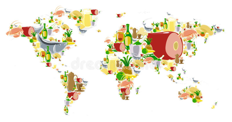 World Map With Food And Drinks Royalty Free Stock Images