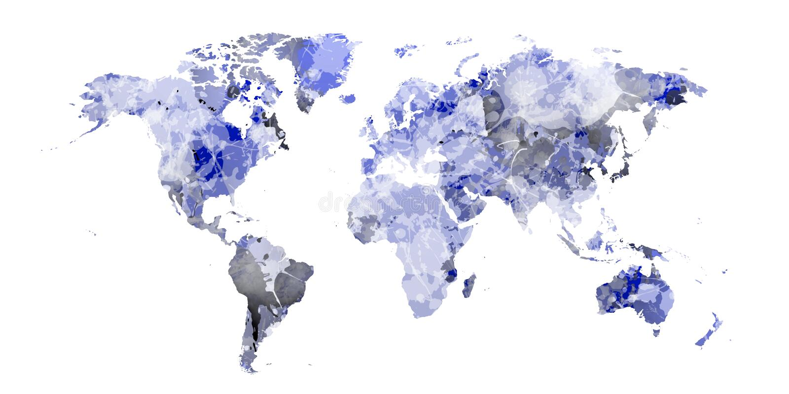 Soft blue world map with blue stains stock photos