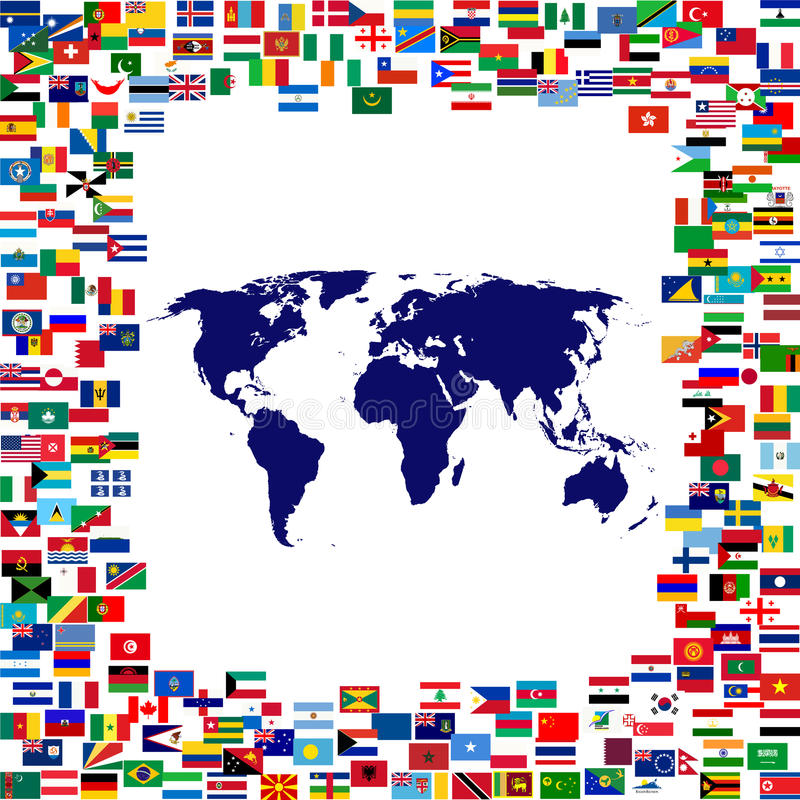 World Map Framed By World Flags Stock Illustration - Illustration of ...