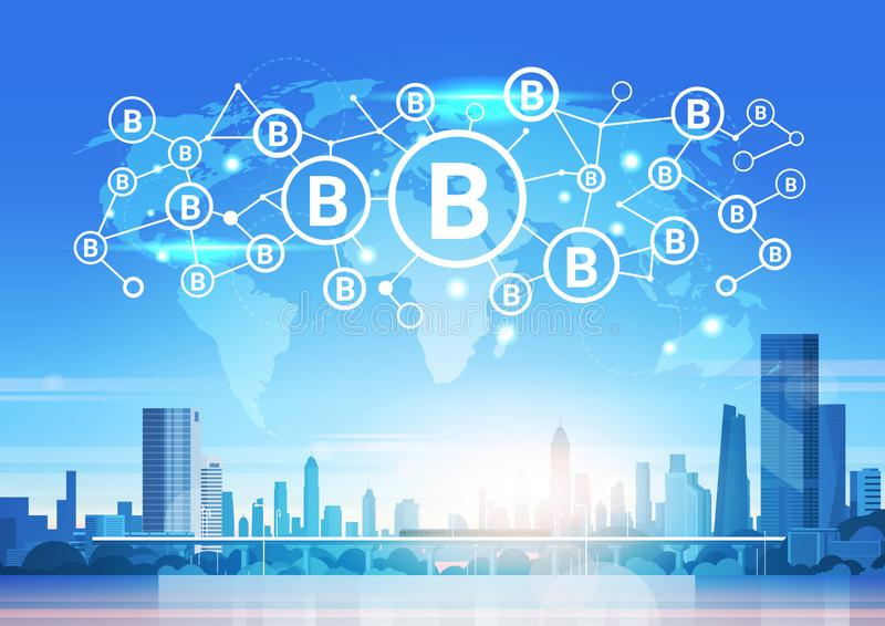World map futuristic bitcoin icon interface network mining crypto currency connection concept cityscape background flat vector illustration
