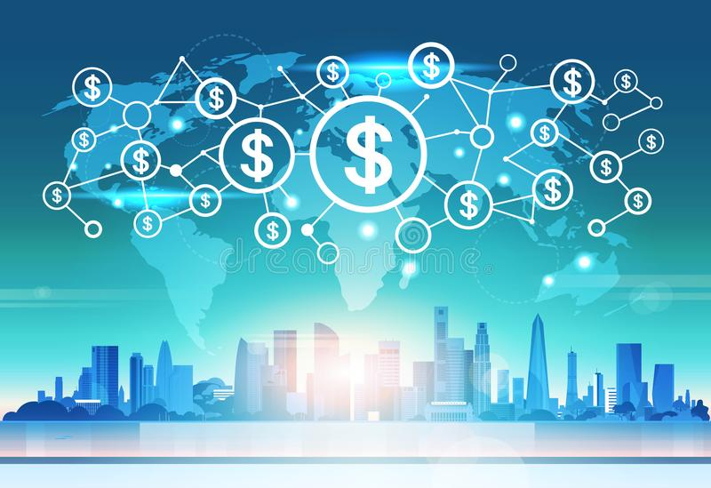 World map futuristic dollar money icon interface network connection concept cityscape background flat horizontal vector illustration