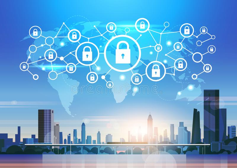 World map futuristic interface padlock icon security protection network data privacy connection concept skyline sunset. Cityscape buildings background flat vector illustration