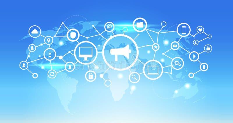 World map futuristic interface social media network icon loudspeaker connection concept blue background flat horizontal. Vector illustration vector illustration