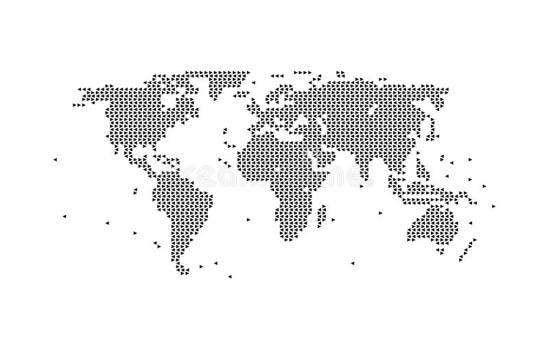 World map geometric BLACK, assembled from triangles. Vector illustration on WHITE background stock illustration