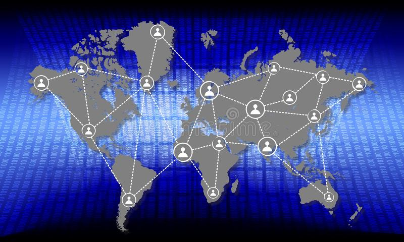 World map with global network connection partnership and world map. world network  technology communication background. royalty free illustration