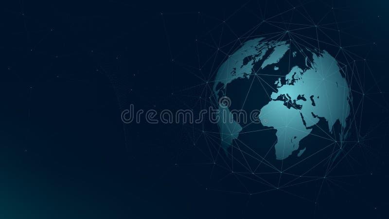 World map global network connection, technology futuristic plexus vector background vector illustration