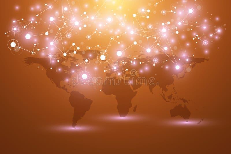 World map with global technology networking concept. Digital data visualization. Lines plexus. Big Data background. Communication. Scientific illustration royalty free illustration