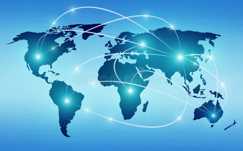 World map with global technology or social connection network. With nodes and links illustration vector illustration