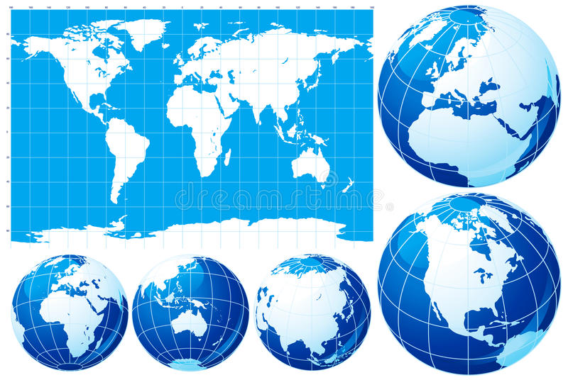 World map and globe royalty free illustration