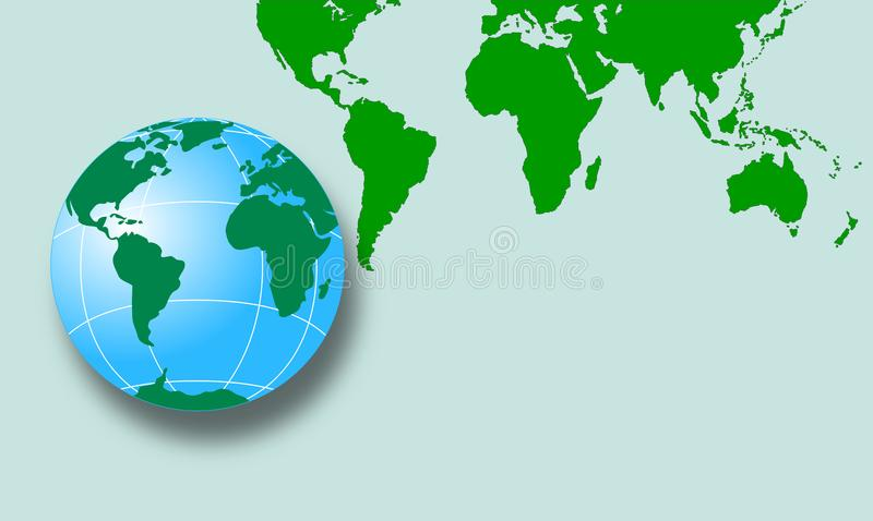 World map with globe royalty free stock image