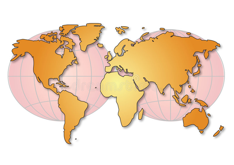 Download World Map With Globe Royalty Free Stock Photos - Image: 7075038