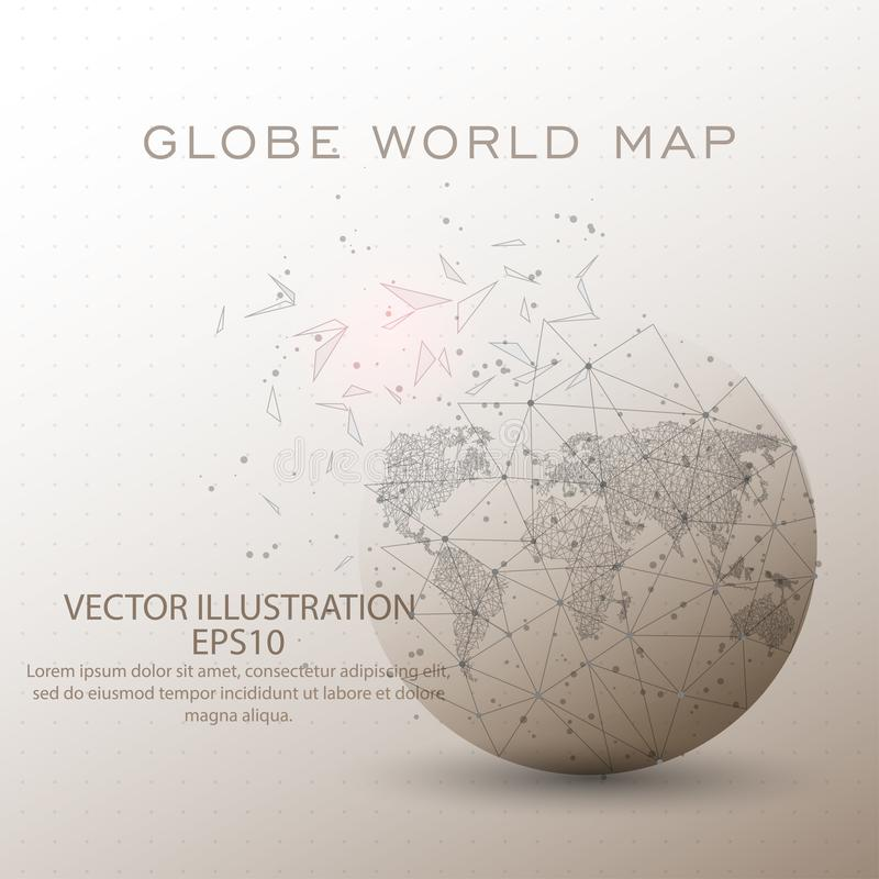 World map globe low poly wire frame. World map globe abstract mesh line and composition digitally drawn starry sky or space in the form of broken a part royalty free illustration