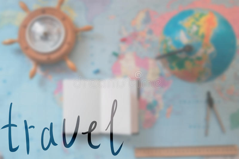 World map with globe blurred background with an inscription. World map with globe blurred background with an inscription royalty free stock image