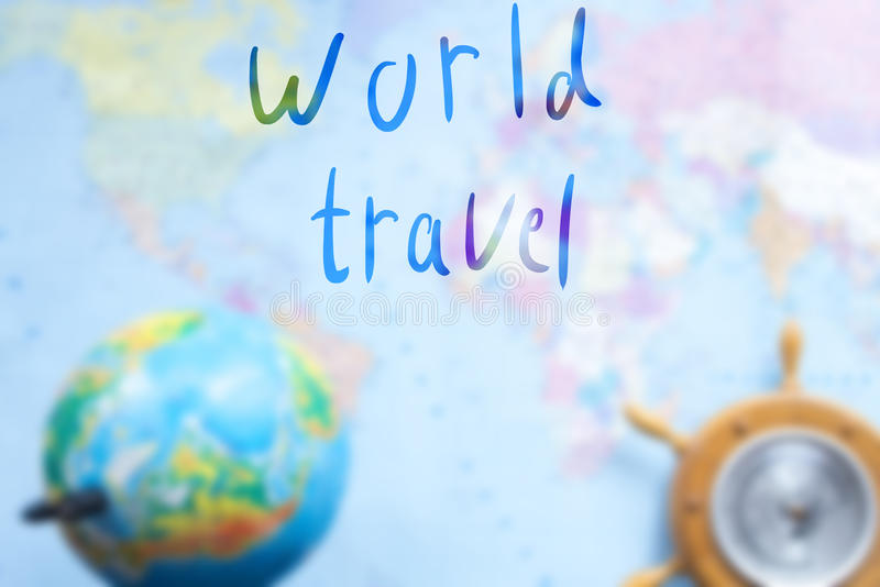 World map with globe blurred background with an inscription. World map with globe blurred background with an inscription stock photos