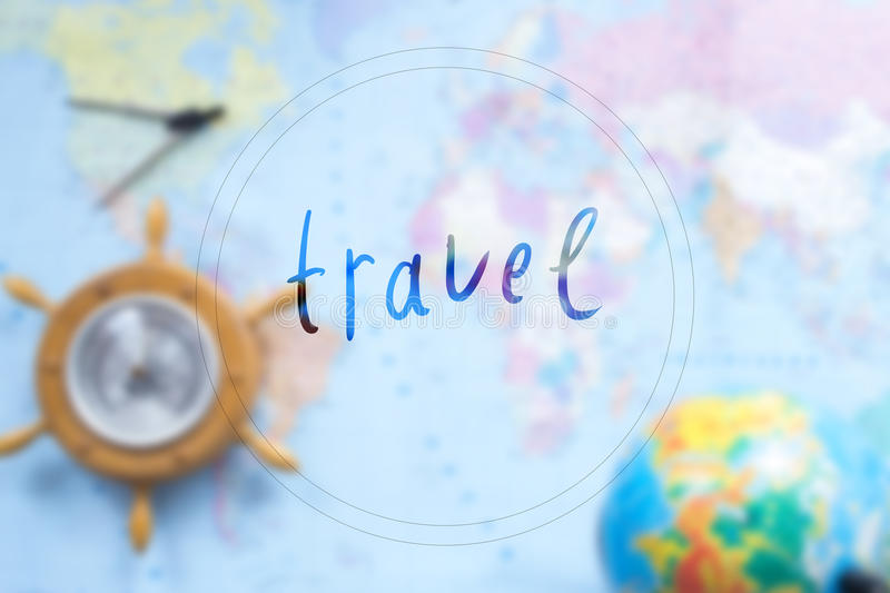 World map with globe blurred background with an inscription. World map with globe blurred background with an inscription stock image
