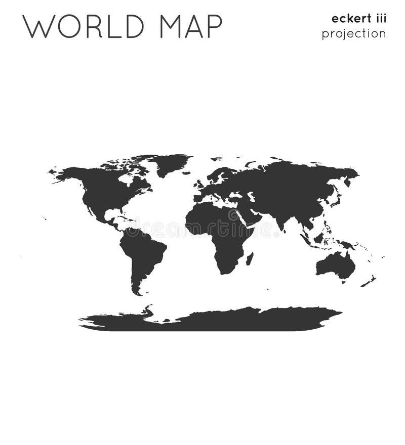 World map. Globe in eckert iii projection, plain style. Modern vector illustration stock illustration