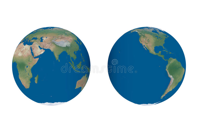 World map - globe hemispheres royalty free illustration