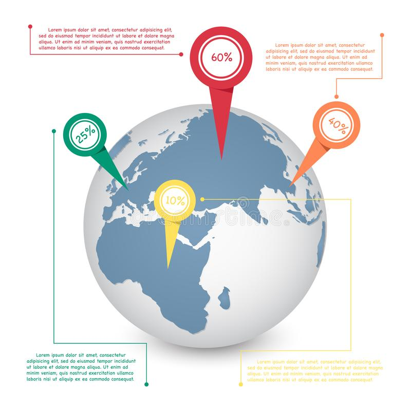 Free World Map Globe Info Graphic For Communication Concept. Royalty Free Stock Photography - 108019227
