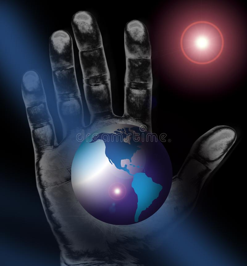 World map or globe plus hand in space stock photography