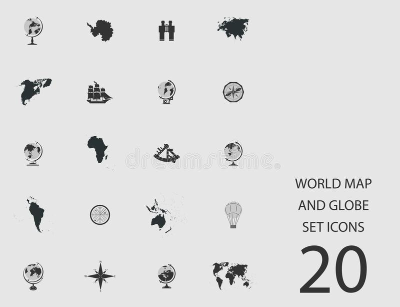World map and globe set of flat icons vector illustration stock download world map and globe set of flat icons vector illustration stock vector illustration gumiabroncs Images