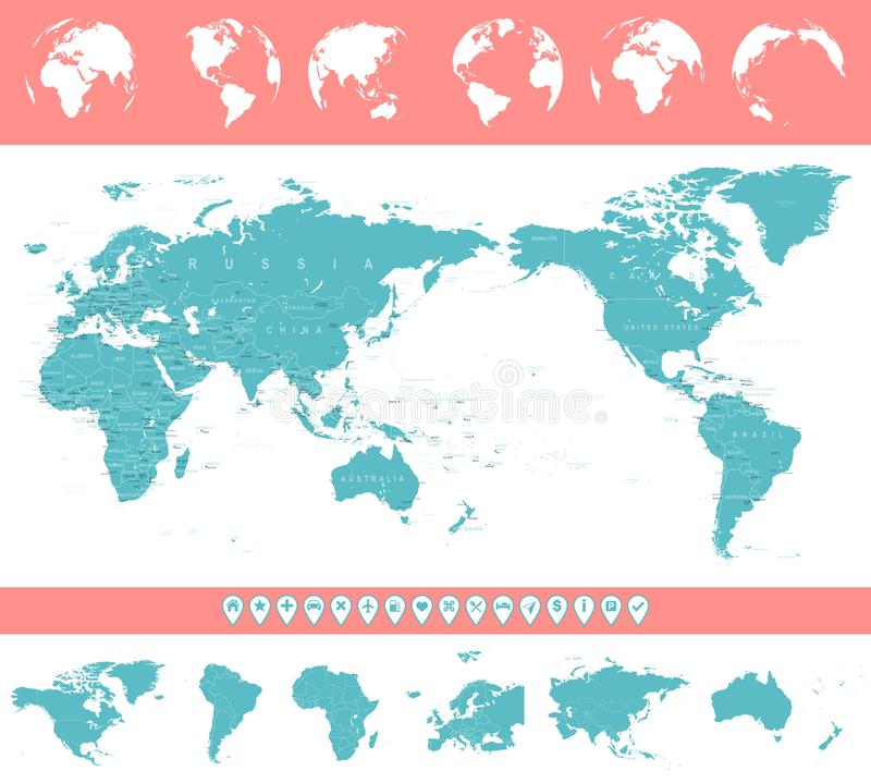 World map and globes asia in center stock illustration download world map and globes asia in center stock illustration illustration of flat gumiabroncs Images