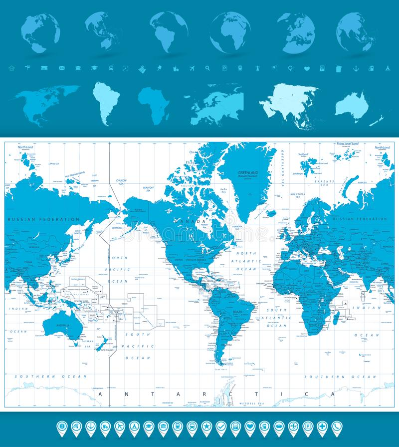 World map globes and navigation icons america in center stock download world map globes and navigation icons america in center stock vector illustration gumiabroncs Choice Image