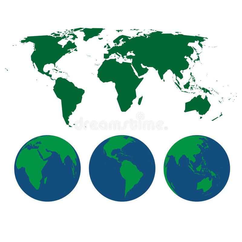 World map and globes. Vector illustration of world map and three globes stock illustration