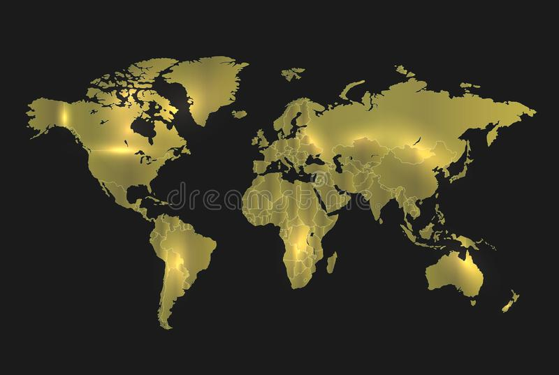 World map gold separate states, realistic light and background dark stock images