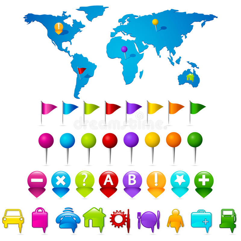 World Map With GPS Icons Stock Photo