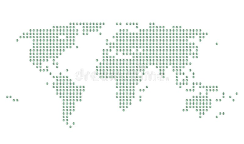 Download World Map With Green Dollar Signs On Gray Dots Stock Illustration - Image: 4959595
