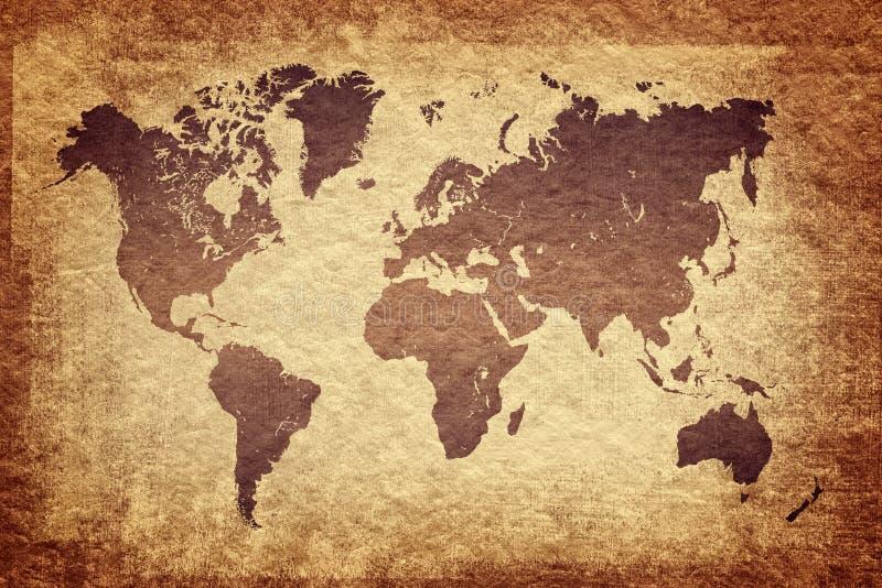 world map on grunge background stock illustration