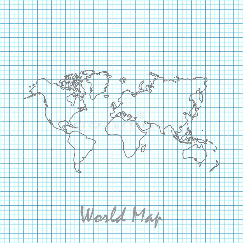 World map hand drawing, line sketch. Vector illustration stock illustration
