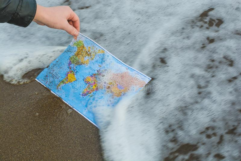 World map in hands 3 royalty free stock photo