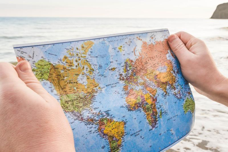 World map in hands 2 stock image