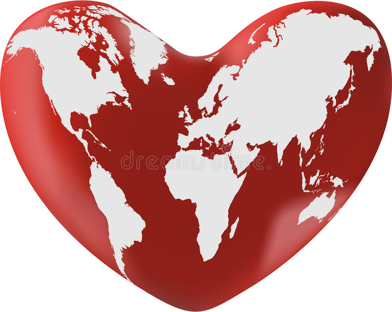 Download World map on heart stock vector. Image of romantic, europe - 6902078