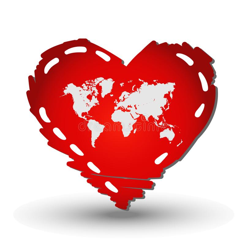 World map in Heart red vector illustration